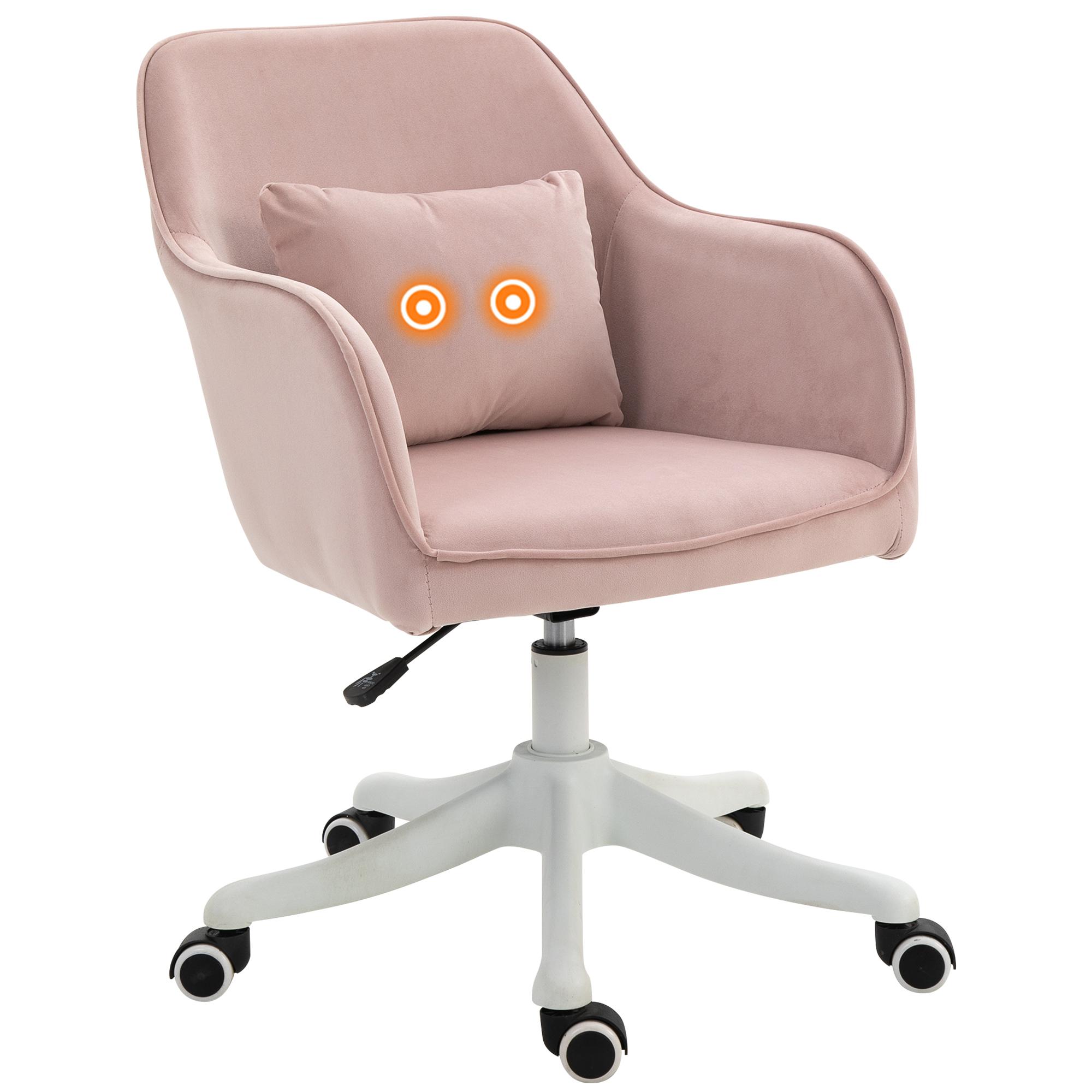 Vinsetto Massage kantoorstoel draaistoel werkstoel met trilfunctie fluweel roze