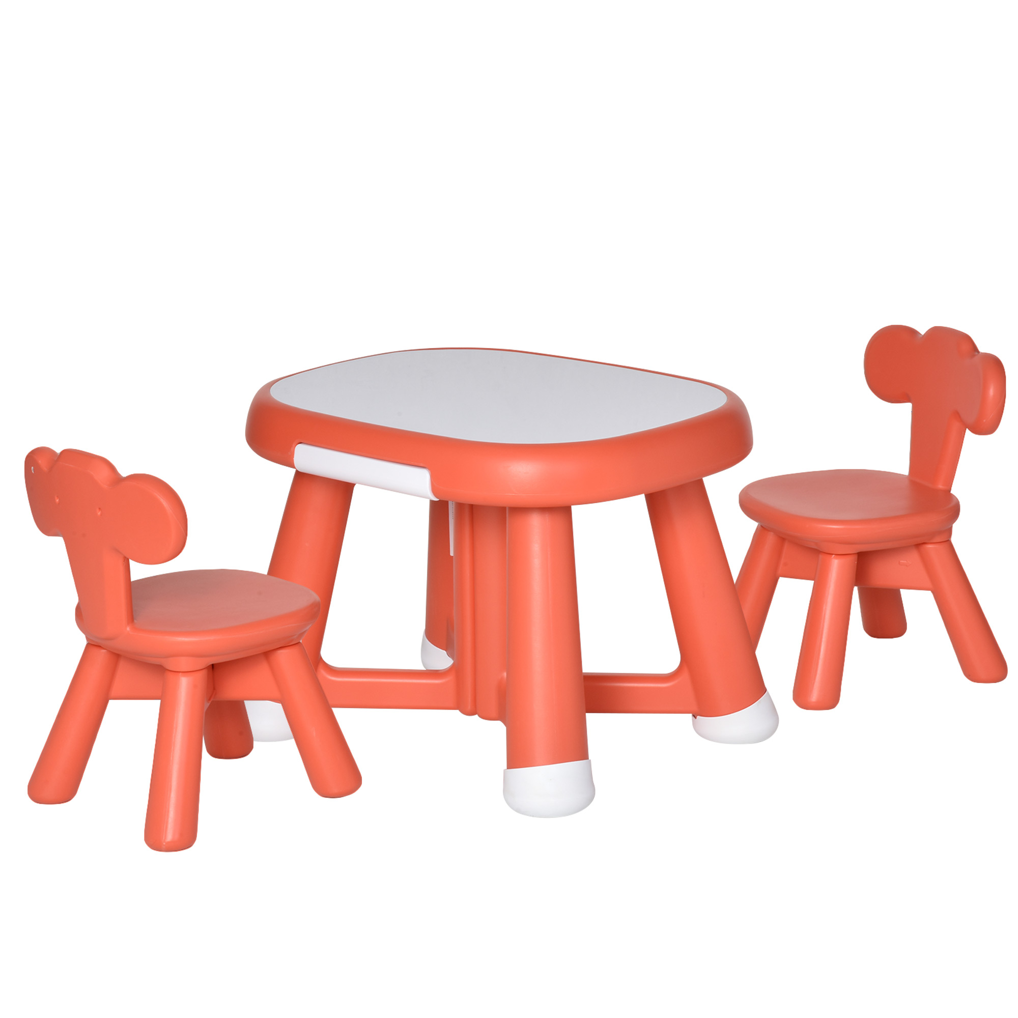 HOMCOM Kid Table and Chairs Set Writting Desk w/ Whiteboard Tabletop Equiped 2 Chairs for School Home Toddlers-Coral Red   Aosom IE