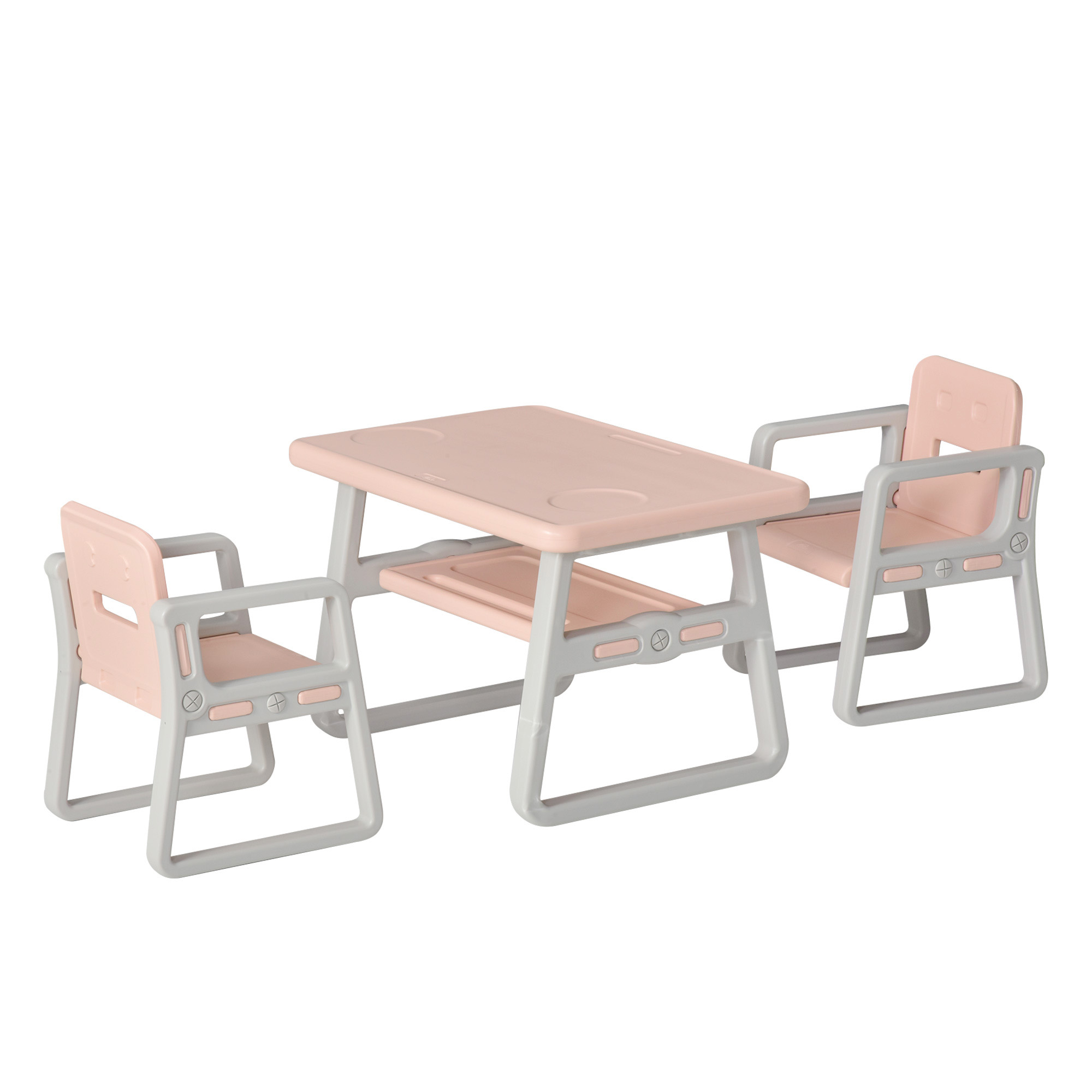 HOMCOM Kid Table and Chairs Set Activity Play Table Writting Desk with 2 High-Back Chairs Storage Tray - Pink   Aosom IE