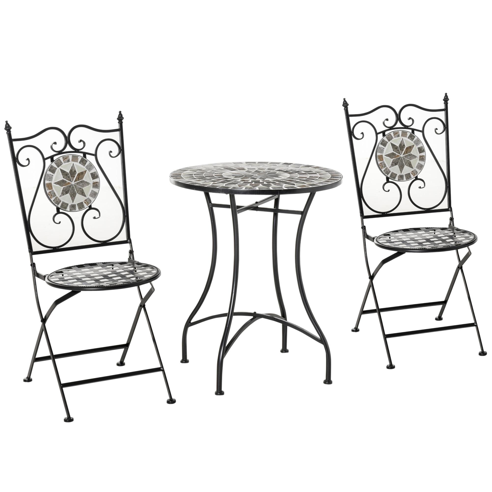 Outsunny 3 Pcs Mosaic Tile Garden Bistro Set Outdoor Seating w/ Table 2 Folding Chairs Set Metal Frame Elegant Scrolling   Aosom Ireland