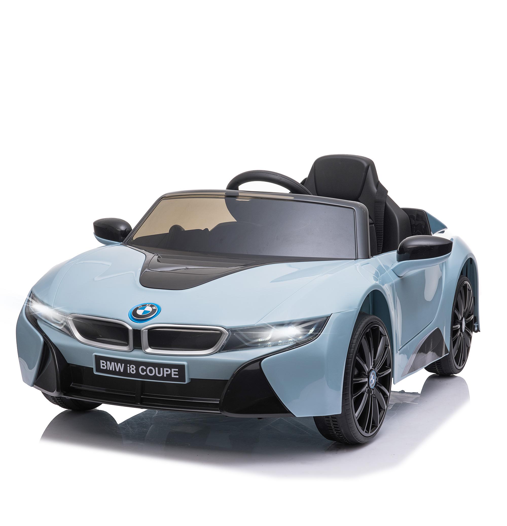 HOMCOM Coche Eléctrico BMW I8 COUPE con Licencia para Niños de +3 Años Batería 6V Control Remoto y Manual con Música Bocina y Faros 115x72,5x46cm Azul