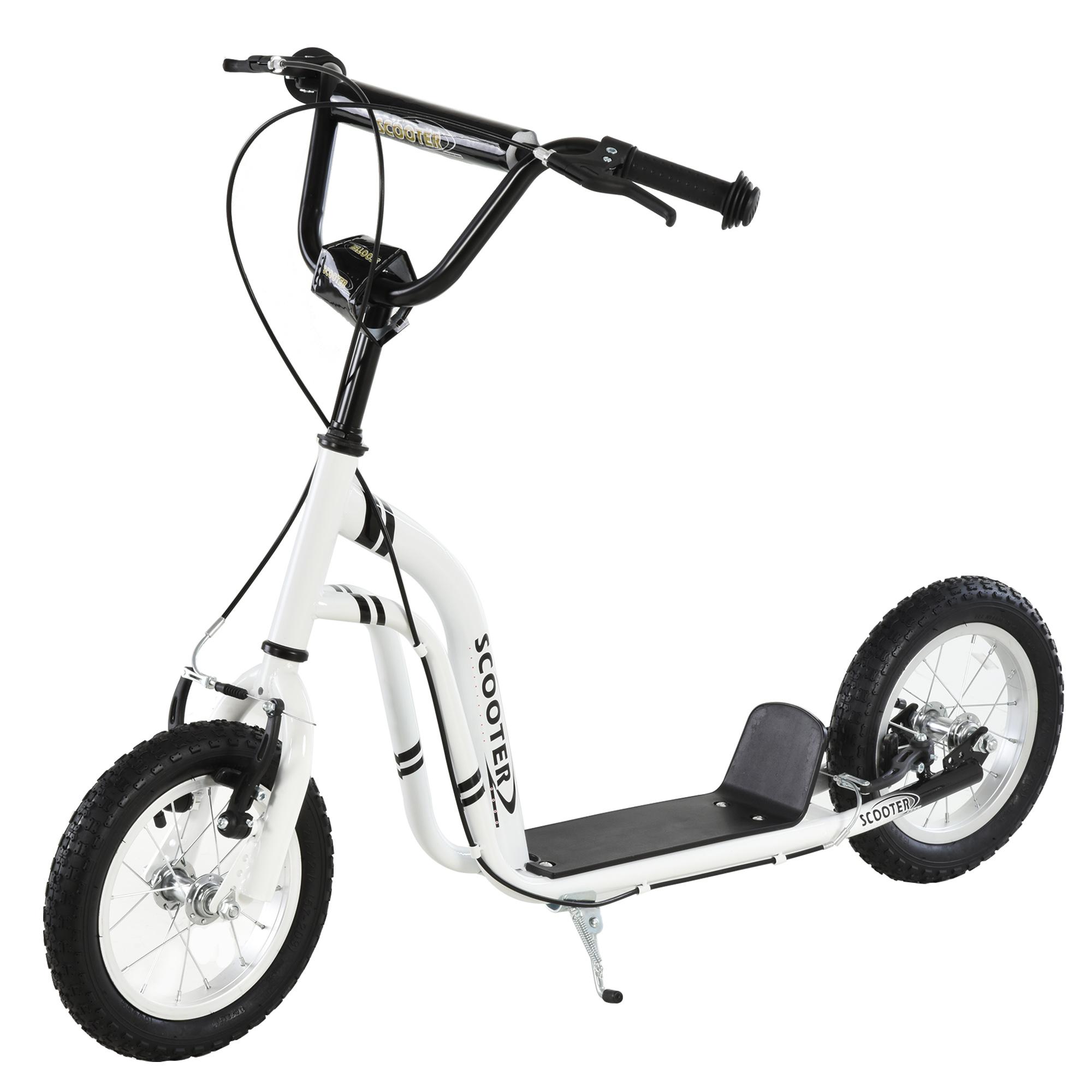 HOMCOM Patinete para Niños Mayores de 5 Años Scooter 2 Neumáticos Inflables de Caucho con Frenos Manillar Ajustable Pedal Antideslizante