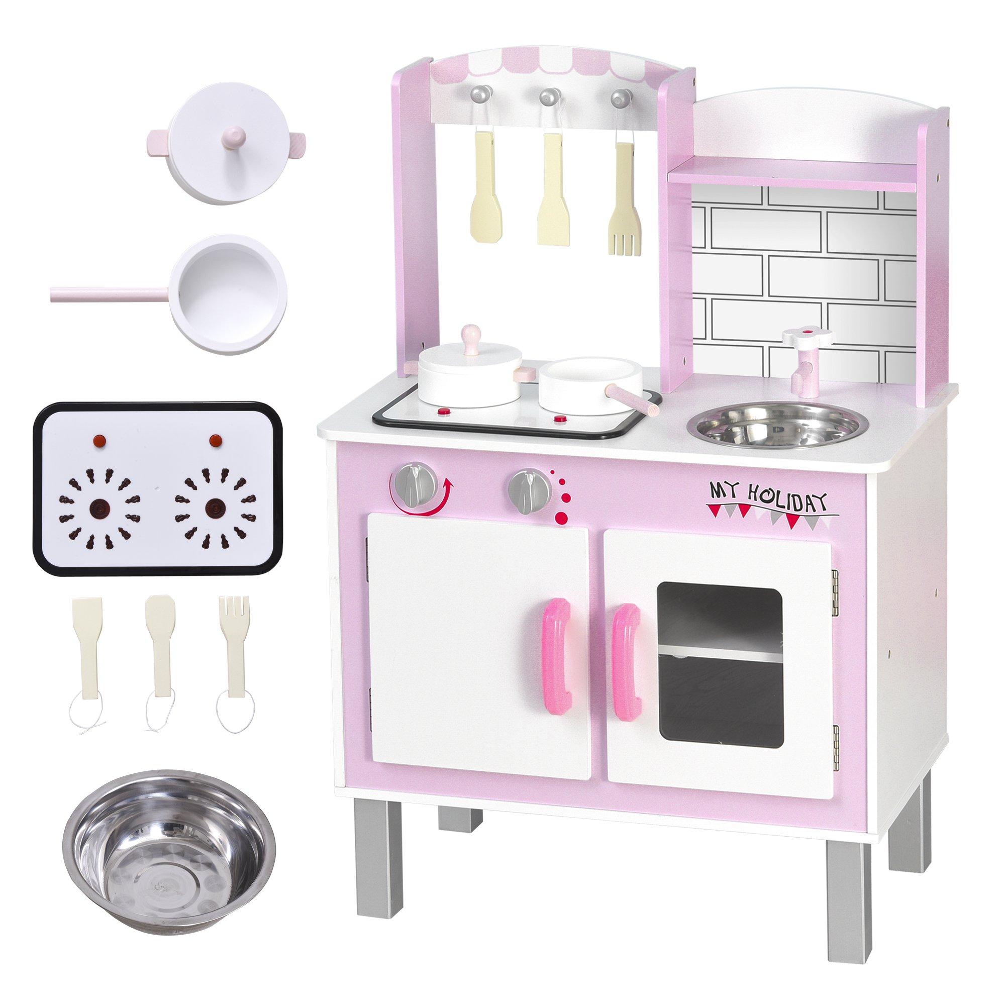 HOMCOM Cocinita de Juguete con Función de Sonido Armario Ganchos 5 Accesorios Incluidos Cocina Infantil Educativo para +3 Años Madera 55x30x80 cm Rosa