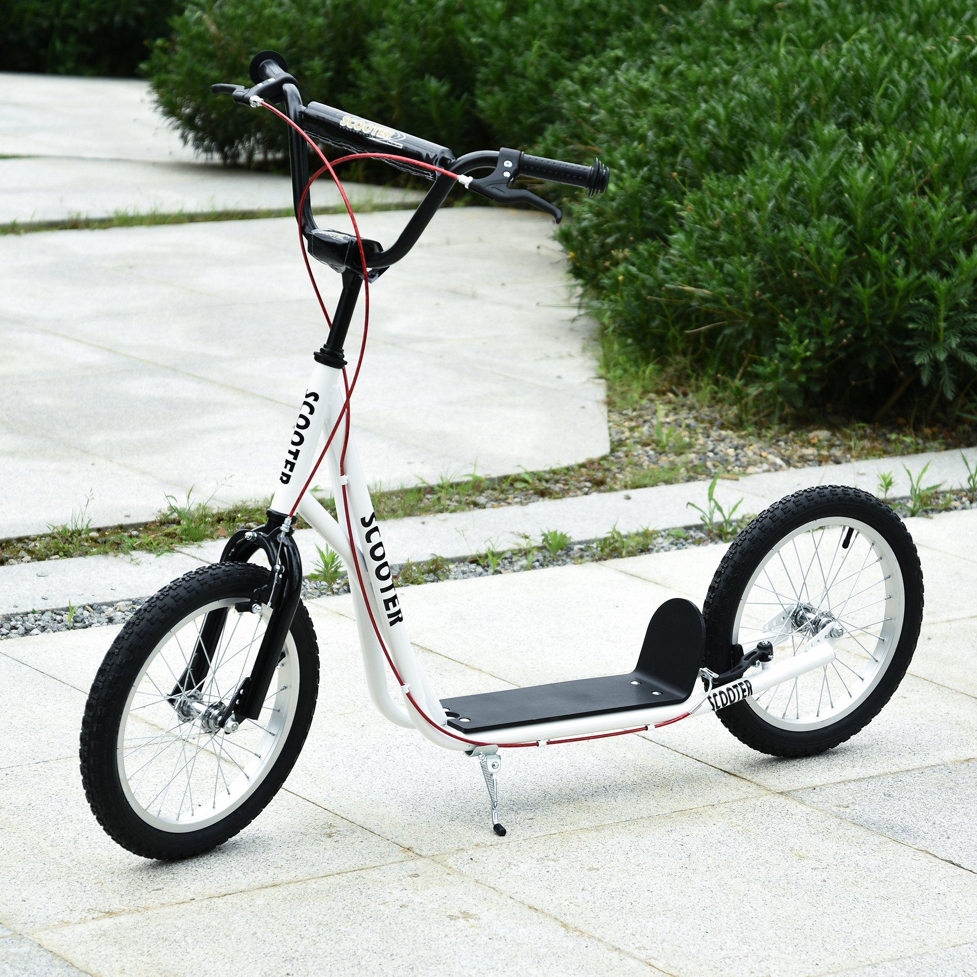 HOMCOM Scooter Patinete para Niños Mayores de 5 Años con Manillar Ajustable en Altura 2 Neumáticos Carga 100 kg 139x58x90-96 cm Blanco