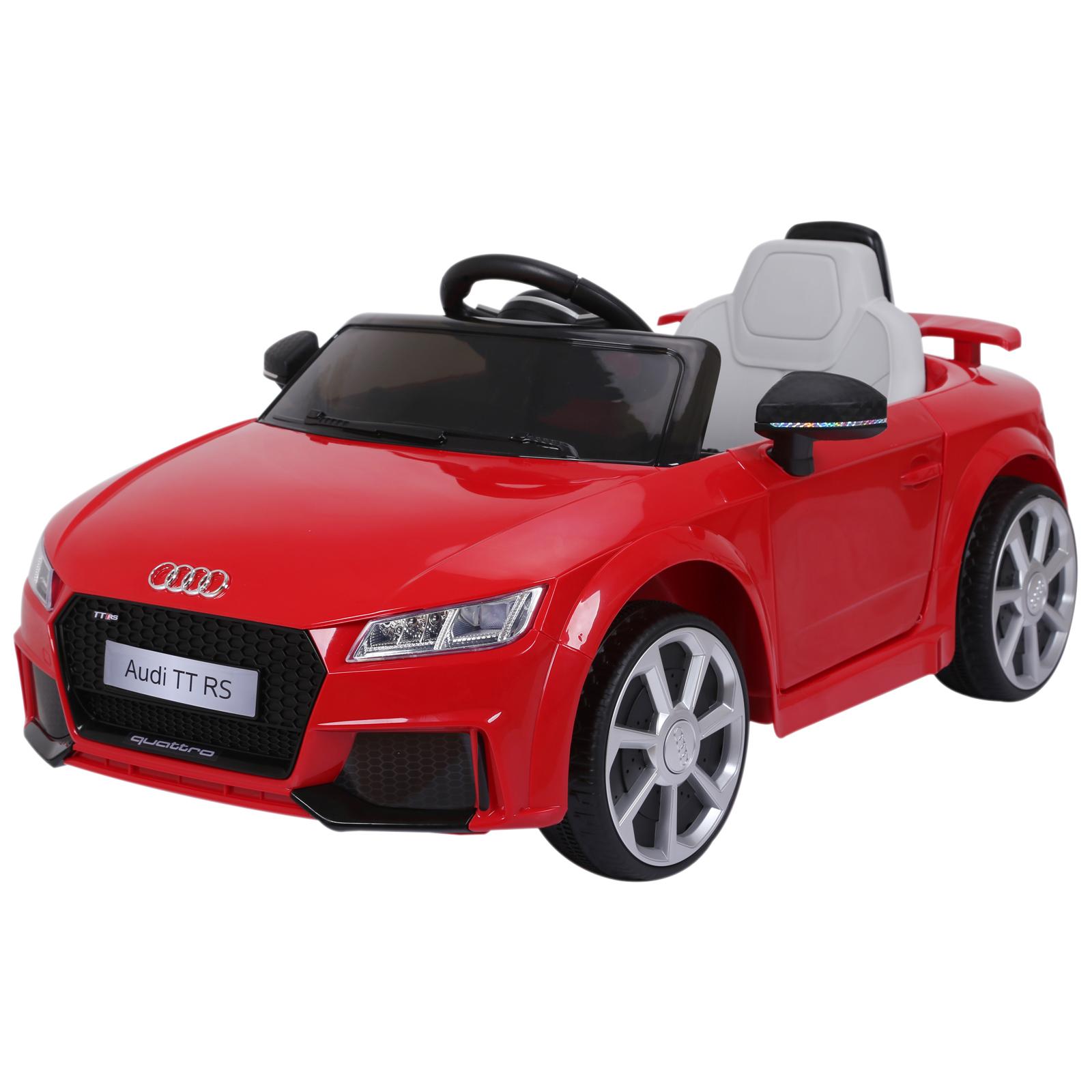 HOMCOM Audi TT Eléctrico Infantil Coche Juguete Niño +3 Años Mando a Distancia Música y Luces Aprendizaje Batería Doble Puerta Carga 30kg 103x63x44cm