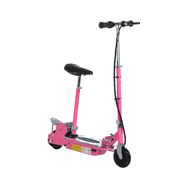 HOMCOM Patinete Eléctrico Scooter Plegable con Manillar y Asiento Ajustable tipo Monopatín 120W Carga 50kg(Rosa) AOSOM ES