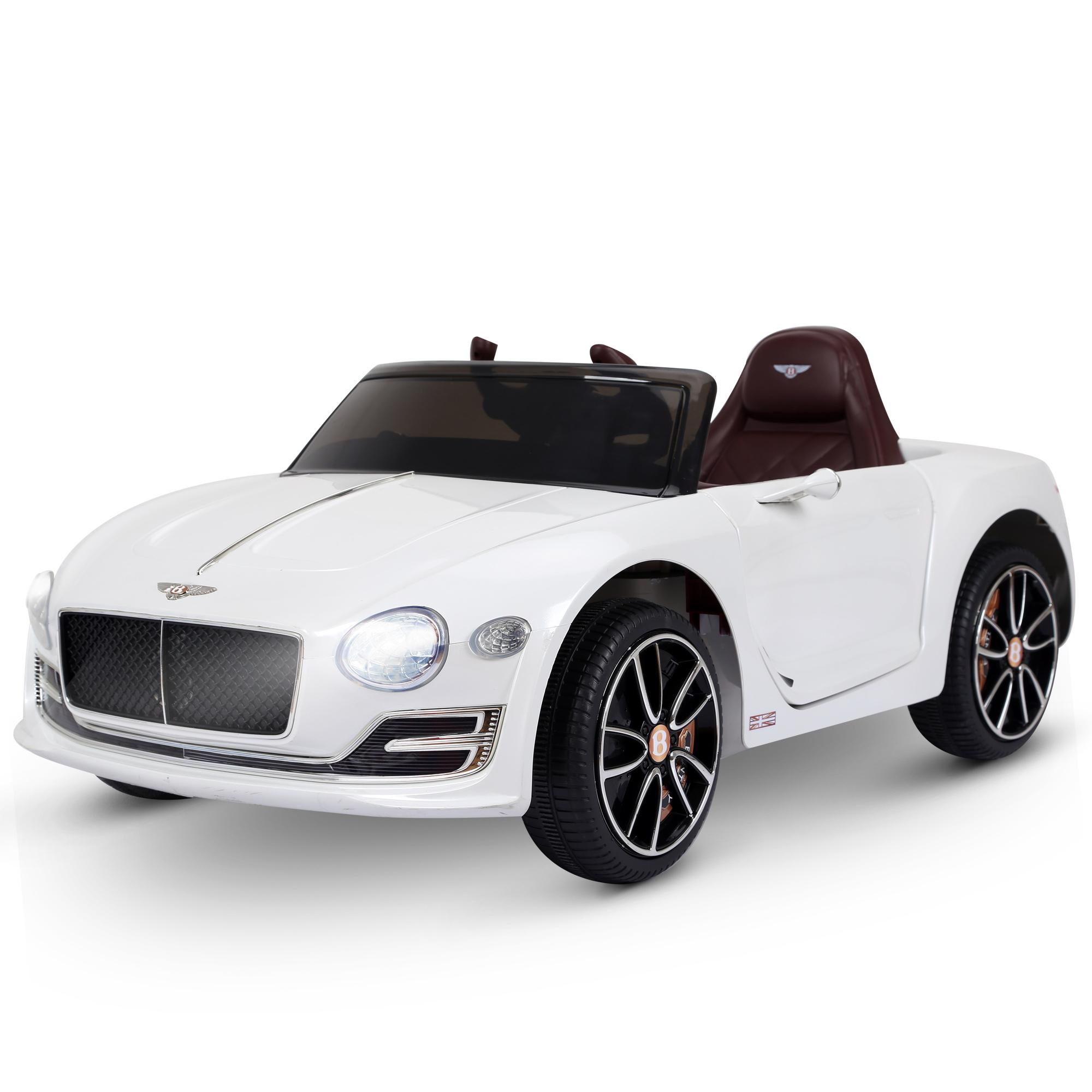 HOMCOM Coche Eléctrico para Niños 2 Modos de Control con Música Faros Brillantes Retroceder Bentley GT Licencia Automóvil Infantil 108x60x43 cm Blanco