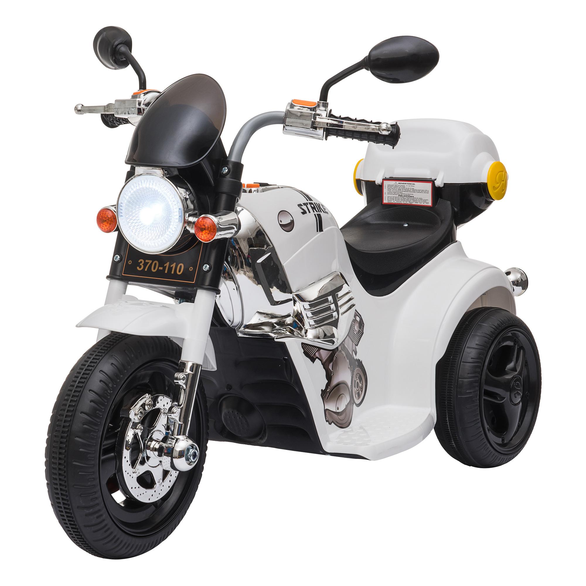 HOMCOM Moto Triciclo Eléctrico para Niños de +18 Meses Moto Eléctrica Infantil con 3 Ruedas Batería 6V 87x46x54 cm Blanco