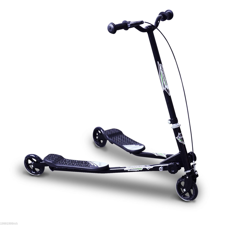 HOMCOM Patinete Scooter de 3 Ruedas Plegable Scooter de Oscilación de Reductor para Niños +4 Años con Freno Manillar Ajustable Carga 60kg Negro