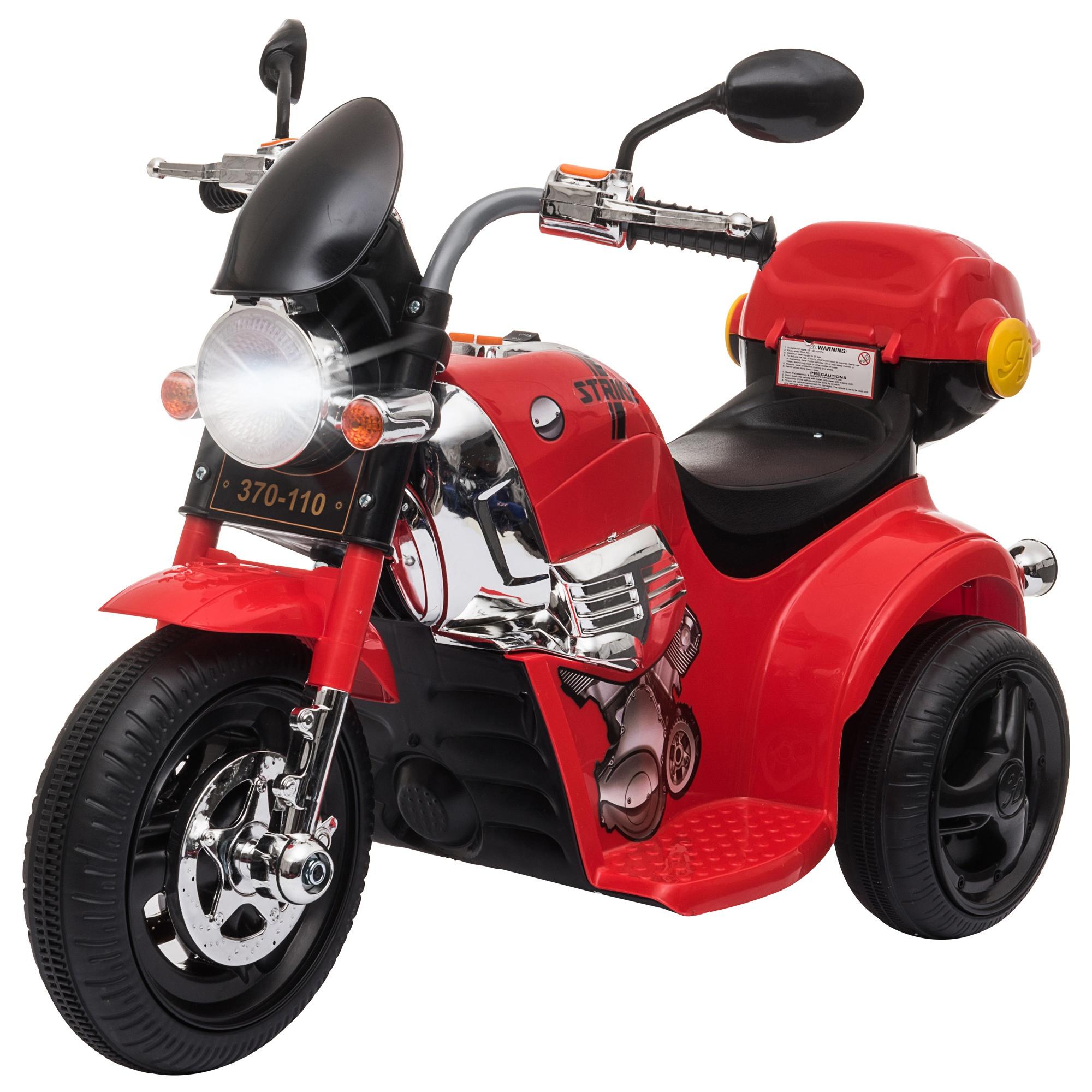 HOMCOM Moto Triciclo Eléctrico para Niños de +3 Años Moto Eléctrica Infantil con 3 Ruedas Batería 6V con Botón de Música 87x46x54 cm Rojo Aosom