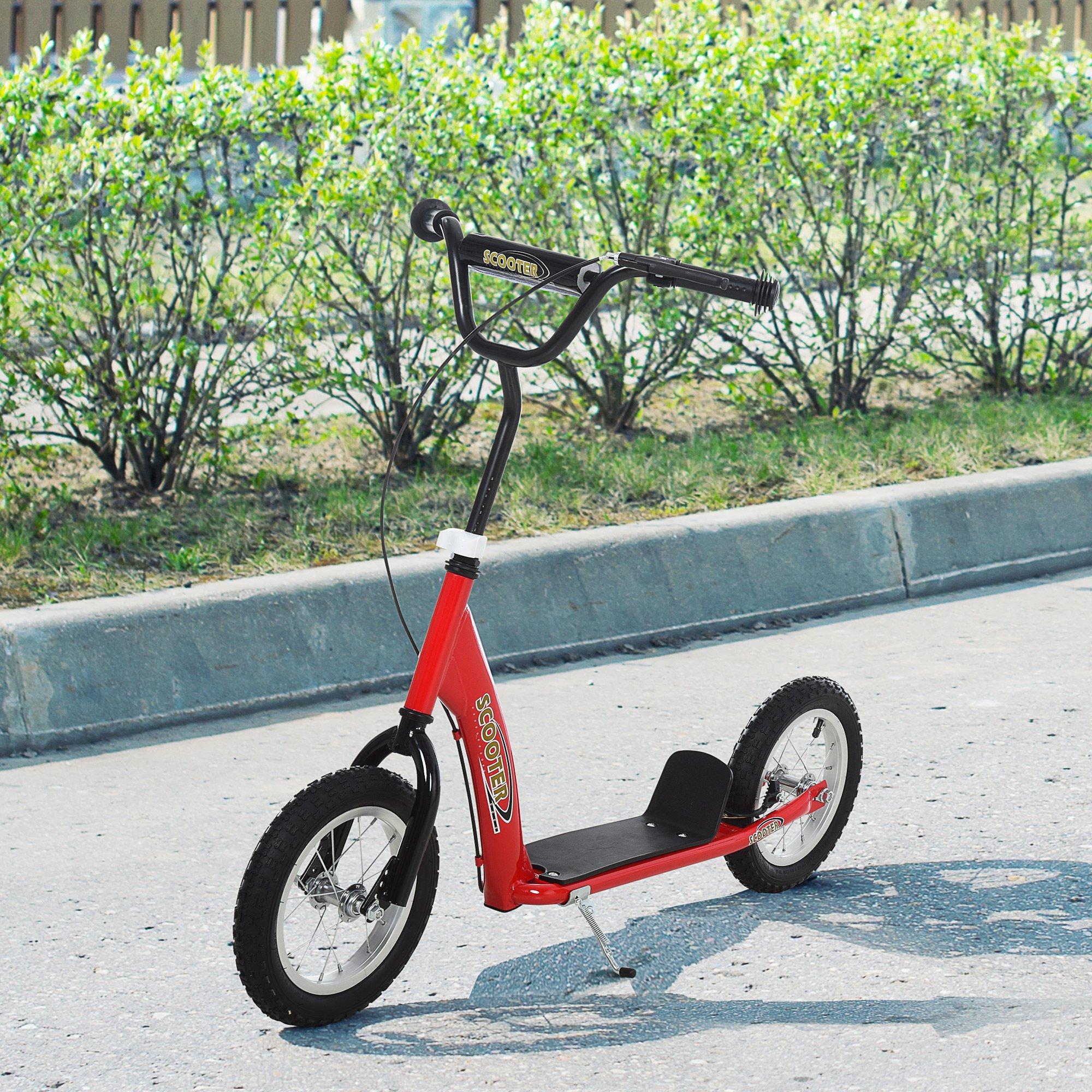 HOMCOM Patinete para Niños Mayores de 5 Años Scooter 2 Neumáticos Inflables de Caucho con Frenos Manillar Ajustable 117x52x80-85 cm Rojo