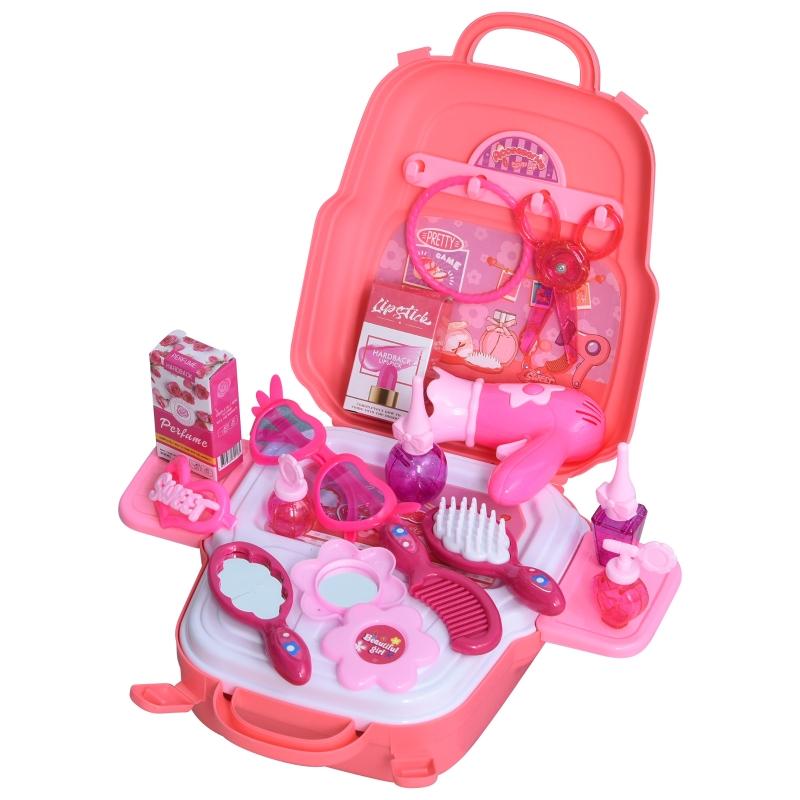HOMCOM Kinder Schminkset Spielzeug Prinzessin Friseur Set Frisierkoffer Rollenspiel Schminkkoffer für 3-9 Jahre mit 23 Zubehören Rosa 30 x 28 x 30 cm