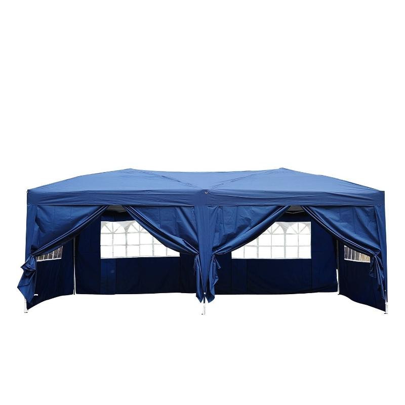3 x 6 m partytent paviljoen tent partytent tuintent blauw raam opvouwbaar