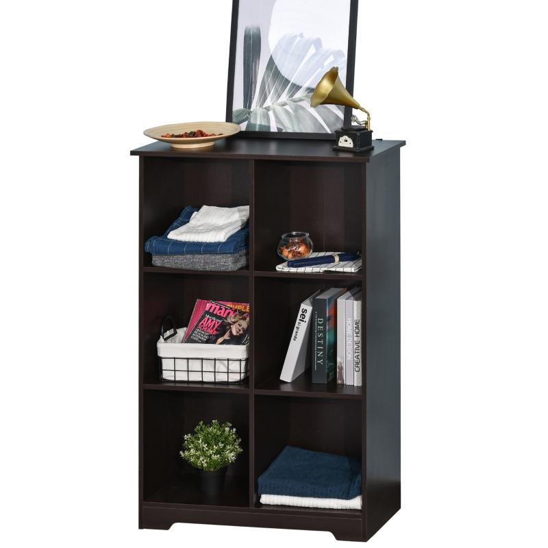 HOMCOM boekenplank vrijstaande stelling dressoir keukenkast kubuskast met 6 roosters