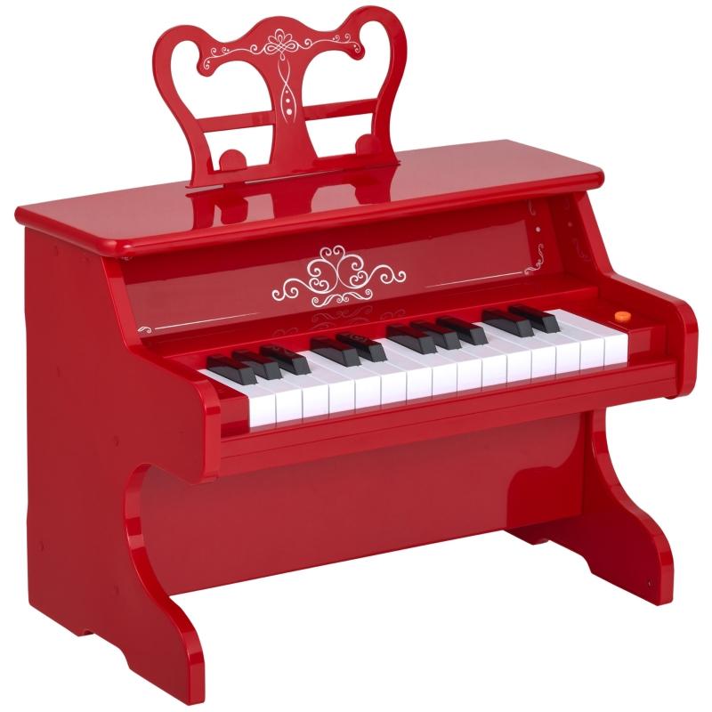 HOMCOM® Kinder Klavier Mini-Klavier 25 Tasten Kinderpiano Keyboard mit Notenpult Rot