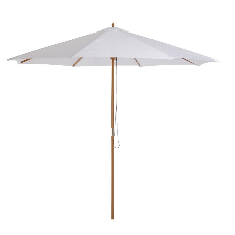 Zonnescherm houten parasol tuinscherm balkonparasol 3 x 2,5 m wit marktparasol