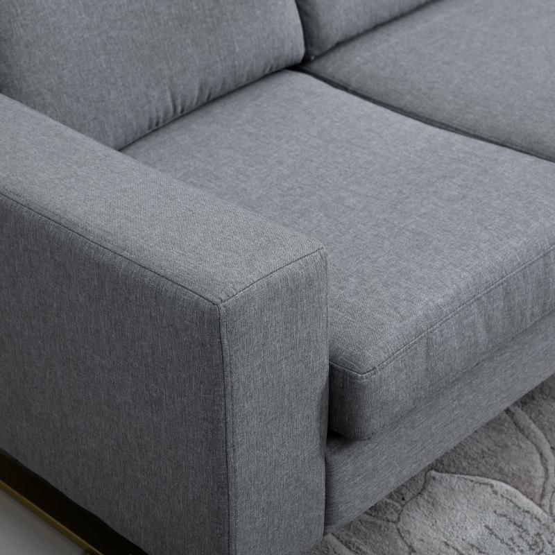 HOMCOM bank gestoffeerde 3-zitsbank tv-fauteuil gestoffeerde bank loungebank kussen