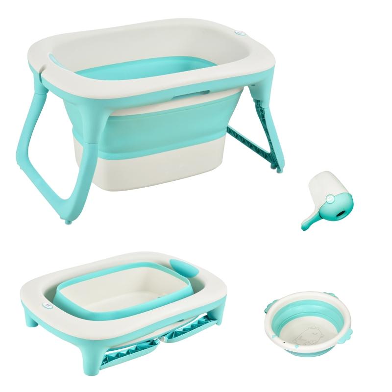 HOMCOM babybadje met 3-delig inklapbaar babybadje groen