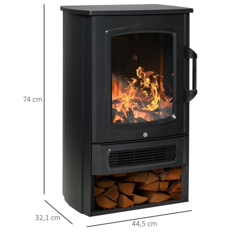 HOMCOM Elektrokamin E-Kamin mit Flammeneffekt Thermostat Kaminofen 1000 W/2000 W, 20–25 qm, Schwarz 44,5x32,1x74 cm