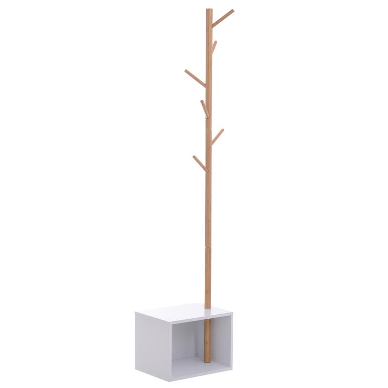 kapstok in boomdesign garderobestandaard 6 kapstokhaken met zitbank naturel