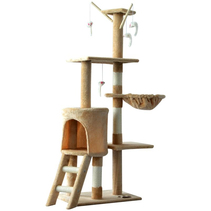Kattenboom krabboom 4 speelgoed kattenkrabpaal klimboom katten trap beige