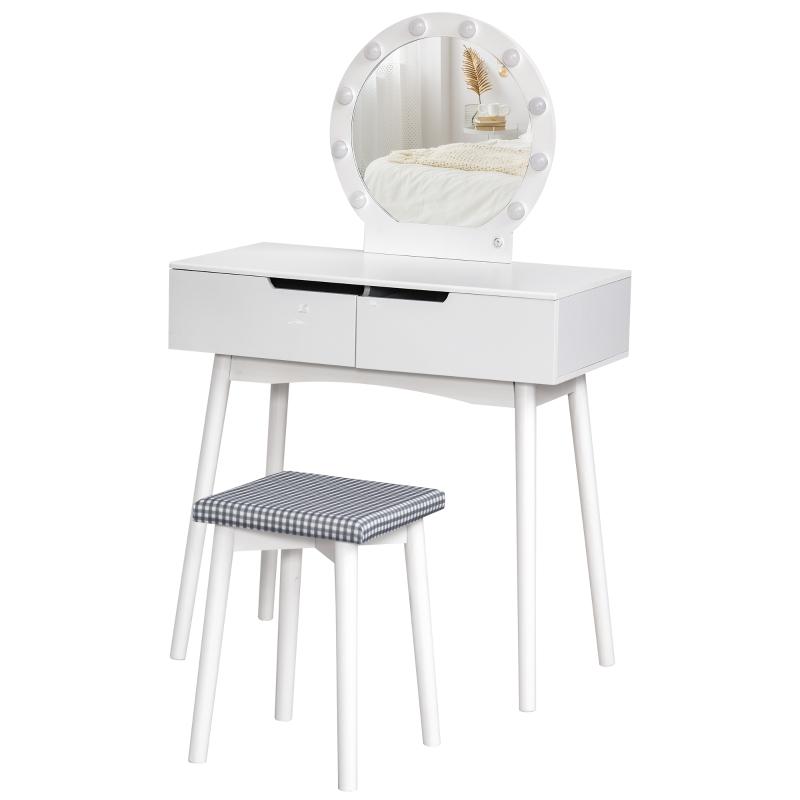 HOMCOM Schminktisch mit Hocker Frisierkommode Kosmetiktisch mit LED Spiegel und 2 Schubladen Weiß, 80 x 40 x 125,5 cm