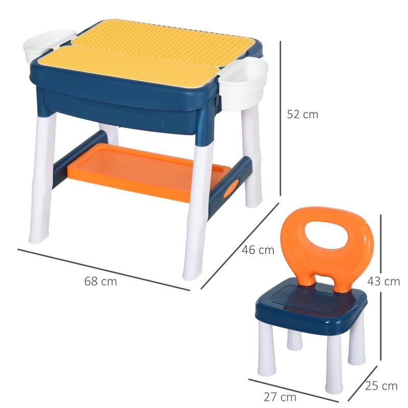 HOMCOM kinderspeeltafel met stoel tafel met opbergruimte 2 in 1 constructietafel