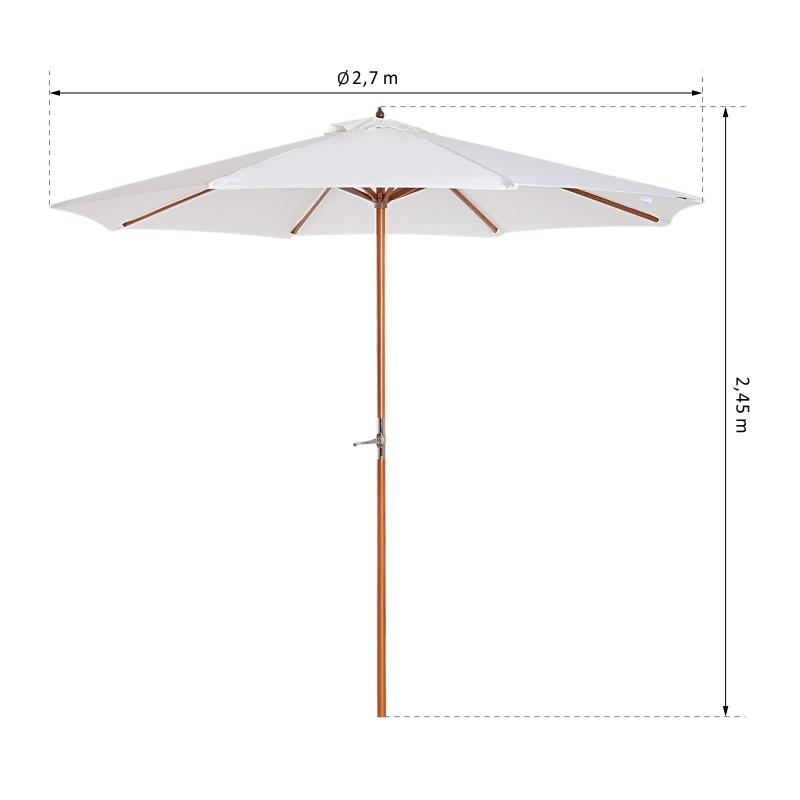Zonnescherm tuinscherm houten parasol parasol met zwengel balkonparasol populierenhout Φ 2,7 m