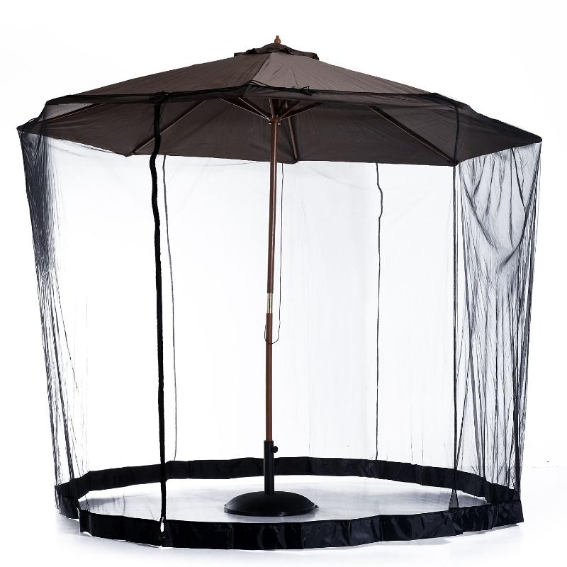 Muggengaas voor parasol vliegennet klamboe zwart Ø3 m met slang