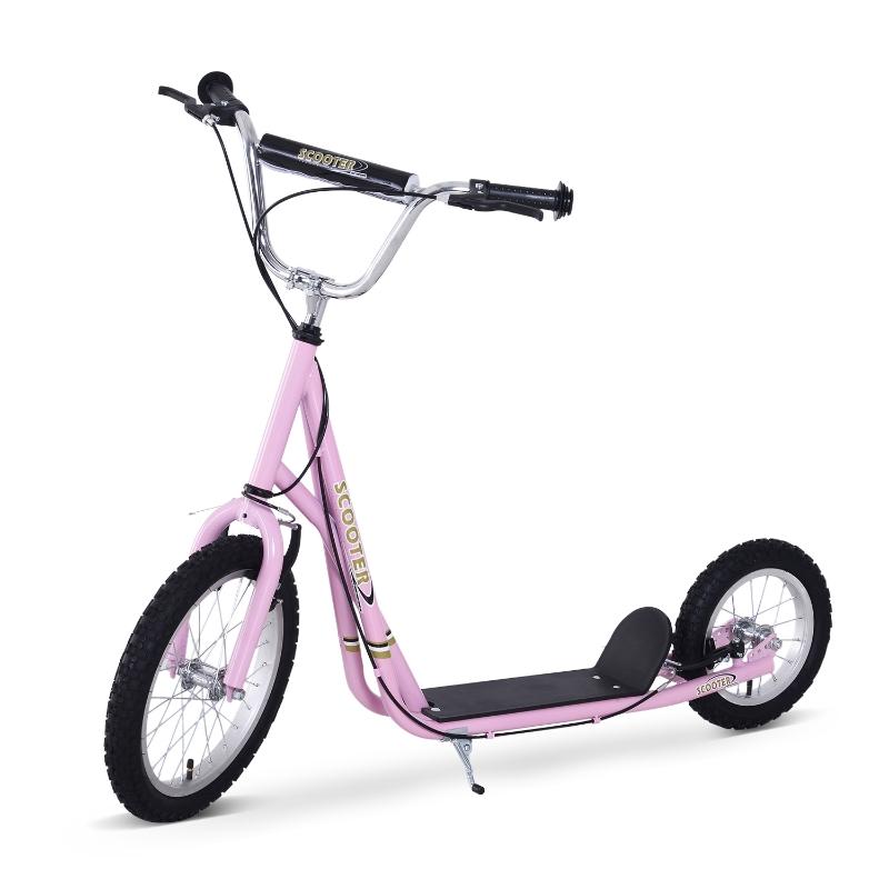 Step scooter (16/12 inch) stadsscooter kinderen meisjes step roze aluminium