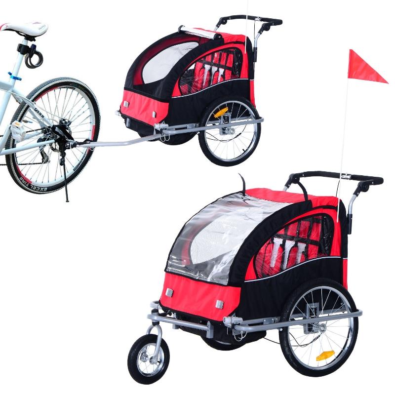 2-in- kinderkar fietsaanhanger jogger fietskar 360° draaibaar rood-zwart