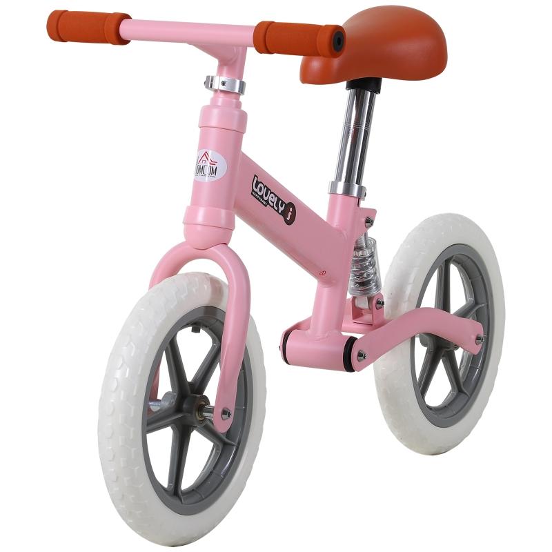 HOMCOM kinderloopfiets schokdemper loopstoeltje loopfiets 2-5 jaar PP roze