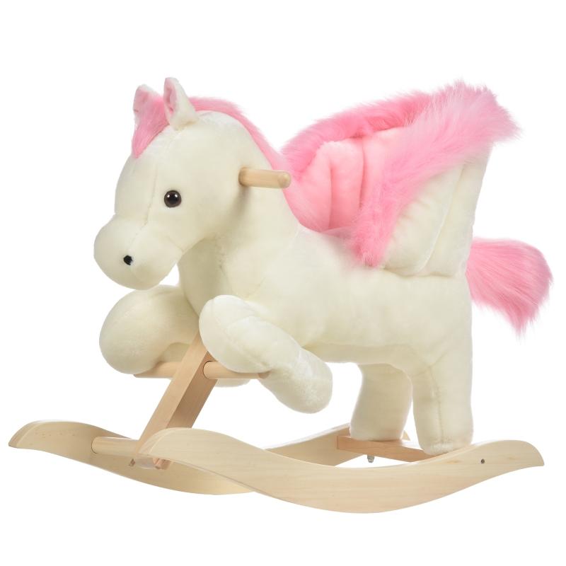 HOMCOM hobbelpaard voor kinderen baby schommeldier paard voor 18-36 maanden wit