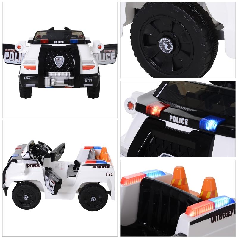Kinderauto kindervoertuig met afstandsbediening elektrische auto politieauto MP3 PP