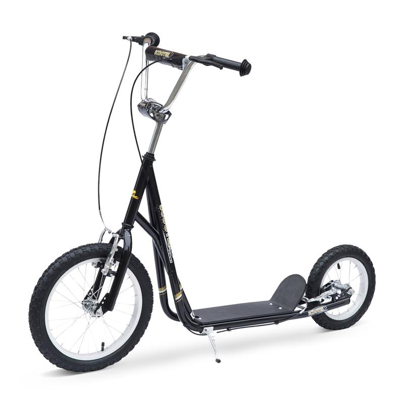 Kinderstep scooter 16/12 inch stadsscooter rolfiets zwart verstelbaar