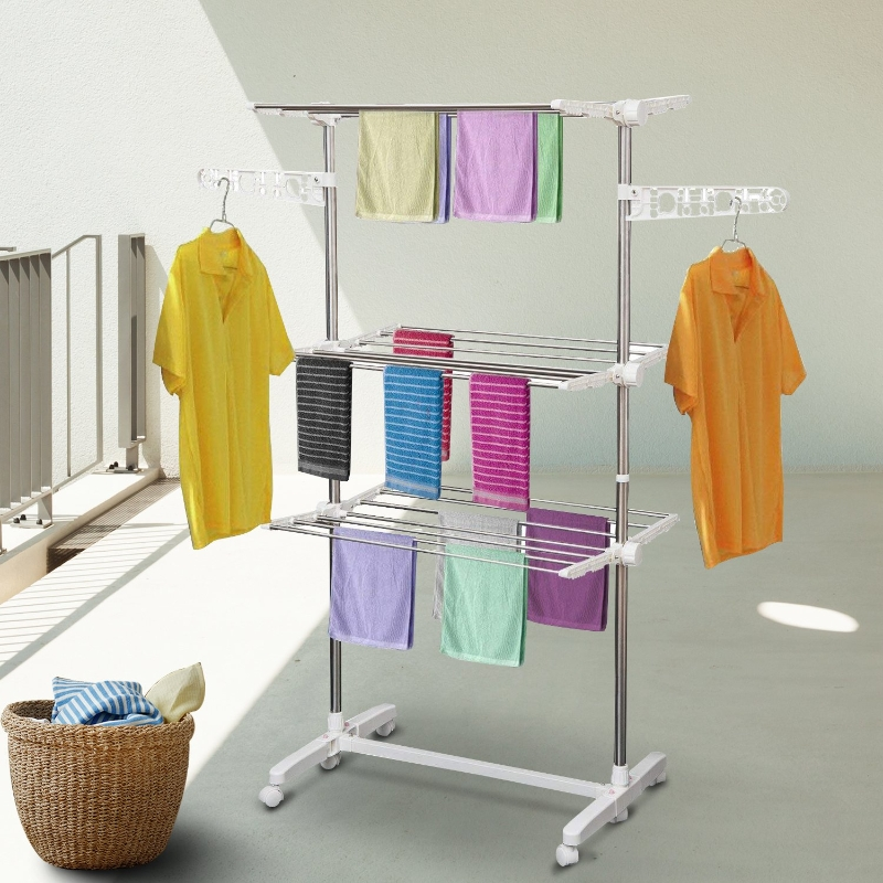 Mobiel kledingrek wasrek kledingrek 3 niveaus inklapbaar wielen