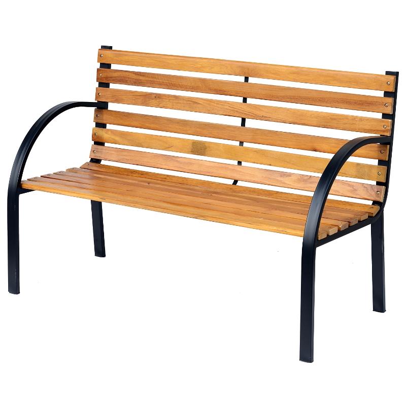 Tuinbank 2-zits zitbank parkbank tuin staal + hout naturel