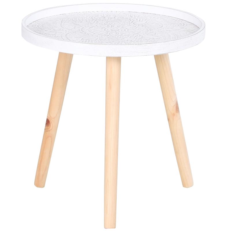 HOMCOM koffietafel bijzettafel nachtkastje met hoge rand massief hout MDF wit