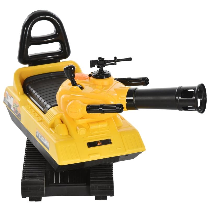 HOMCOM 3-in-1 kinderauto speelgoedauto tank met opbergruimte ballen geel + zwart