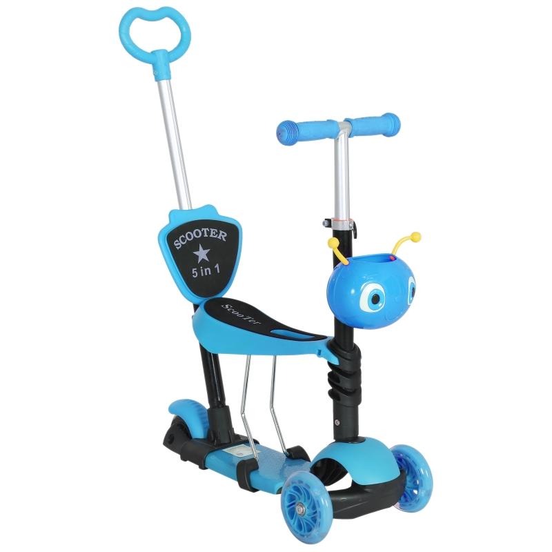 HOMCOM kinderscooter, scooter, step, in hoogte verstelbaar aluminium blauw