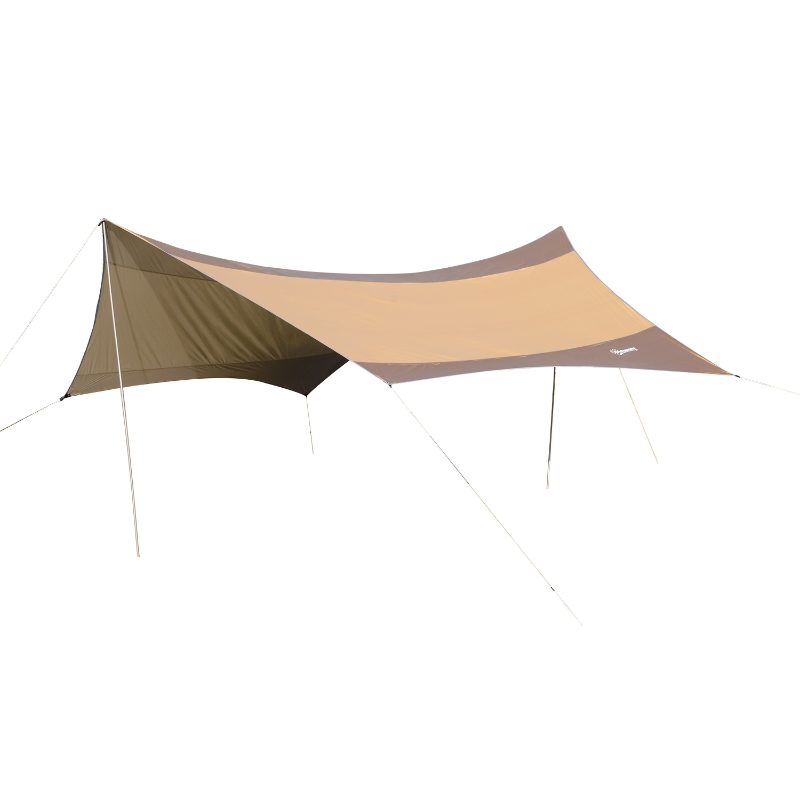 zonnedoek tarp zonwering met tentstokken camping polyester 550 x 560 cm