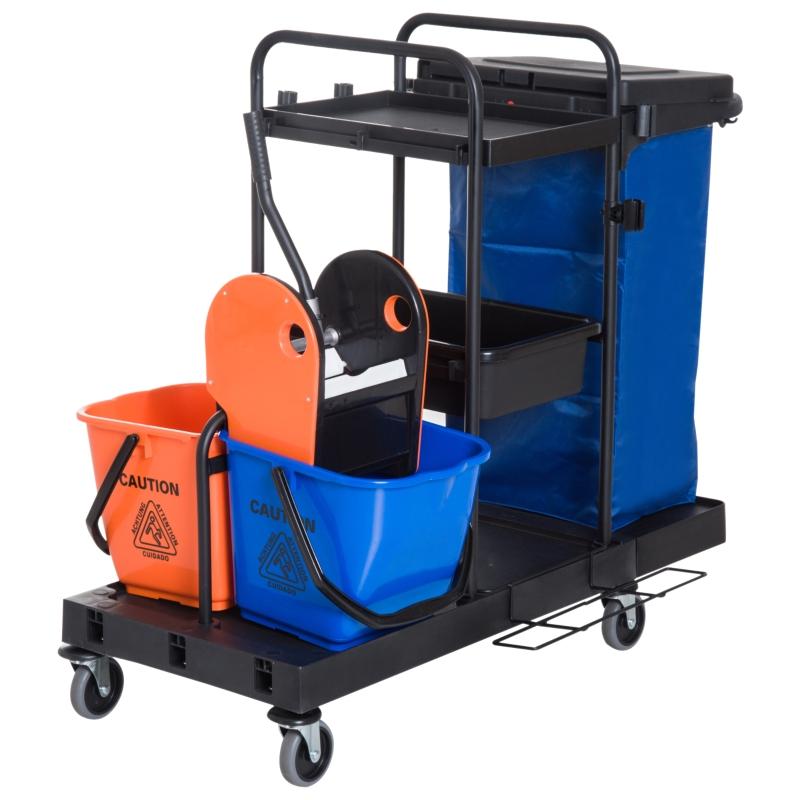 HOMCOM schoonmaakwagen reinigingswagen veegwagen systeemwagen met 4 wielen 2 emmers