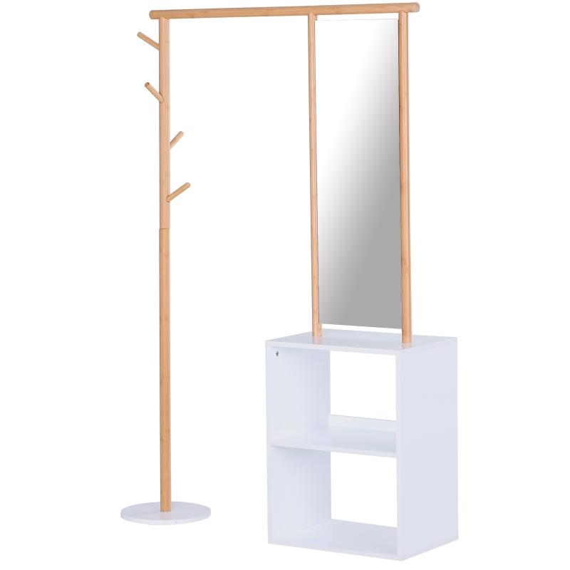HOMCOM garderobestandaard kledingrek met make-up spiegel plank 4 haken bamboe