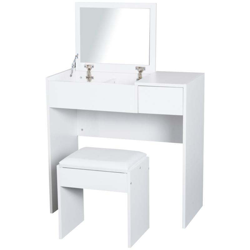 Make-uptafel met kruk toilettafel kaptafel inklapbare spiegel wit