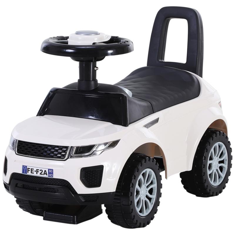 Kindervoertuig met claxon duwauto loopauto opbergruimte PP wit
