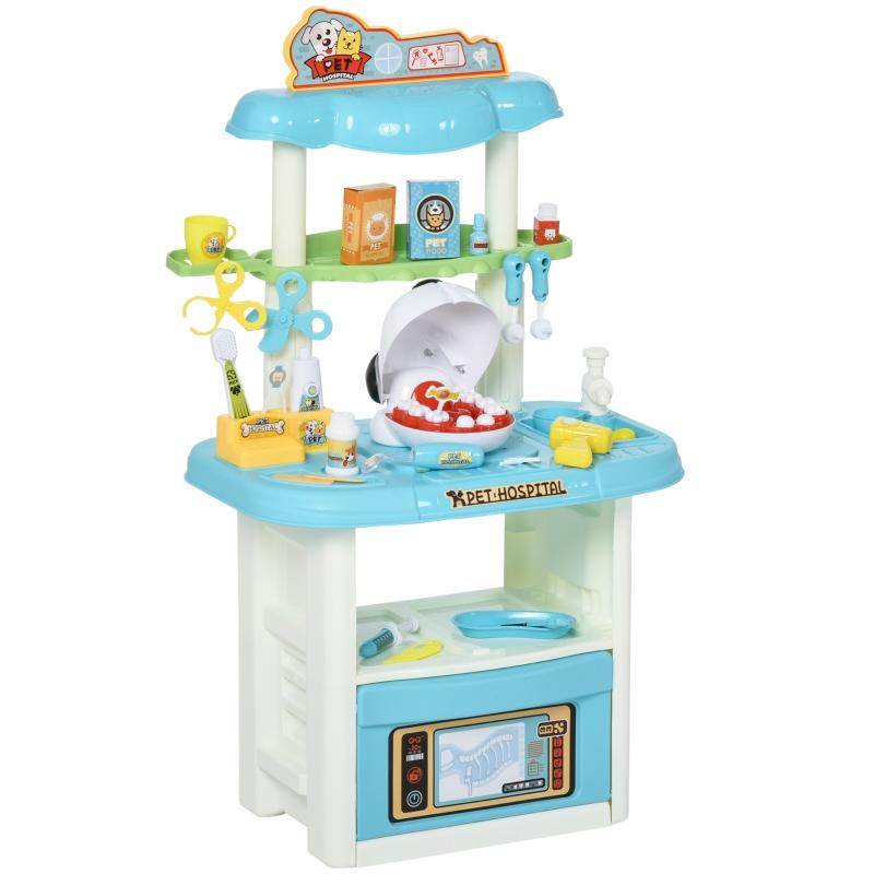 HOMCOM Kinder Tierarzt-Spielset Zahnarzt-Set Rollenspielset für Tier 43-Teilige Zubehöre ab 3 Jahre Weiß+Blau 50x32x86 cm