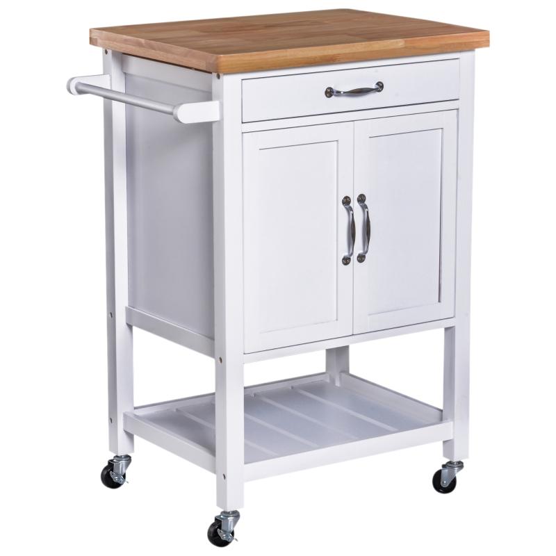 Keukentrolley keukenwagen keukenkast met schuiflade hout wit