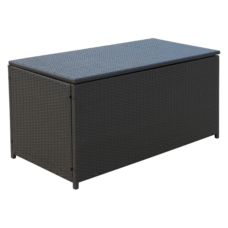 Kussenbox polyrotan kussenbox tuinbox metaal 118 l x 54 b x 59 h cm bruin