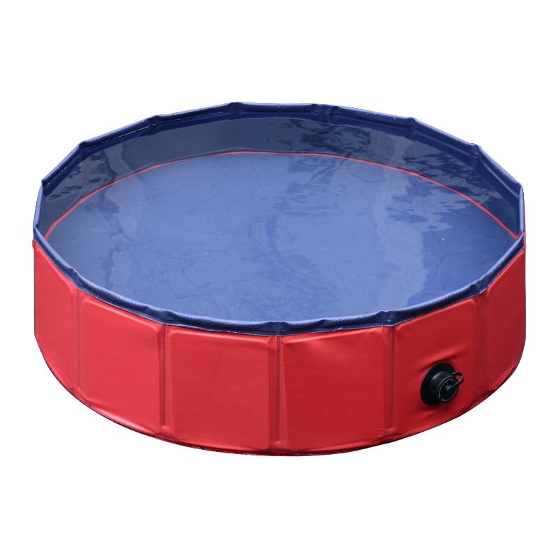 Pawhut hondenbad hondenzwembad waterbak zwembad Ø80 / 120 / 160 cm blauw/rood