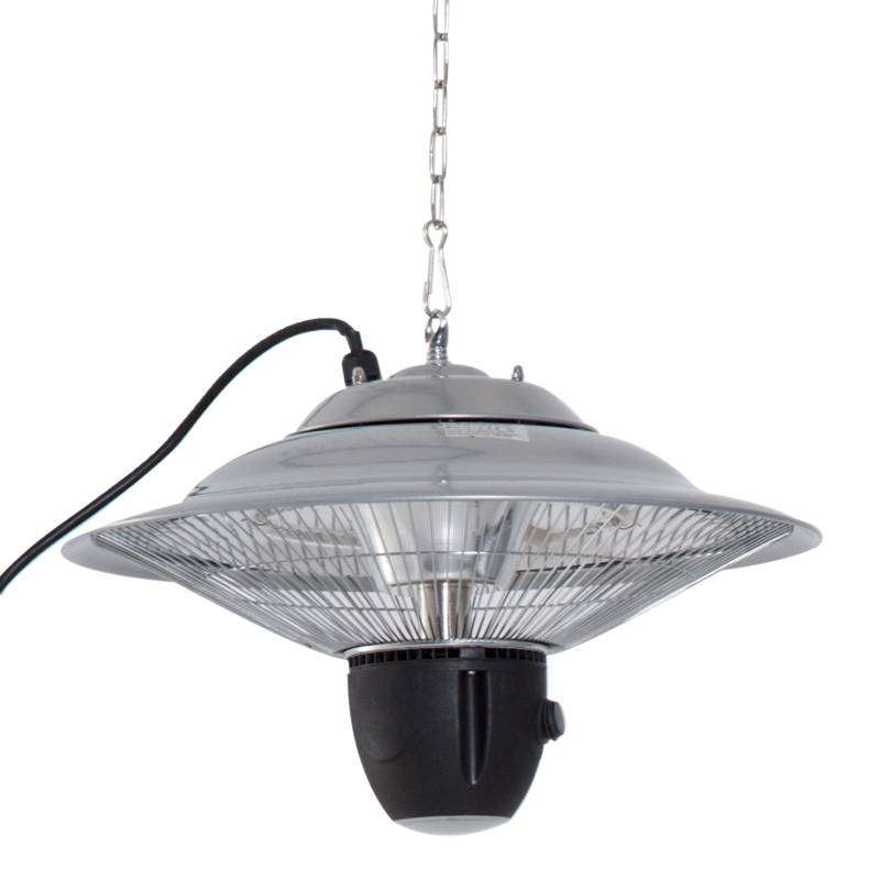 Plafondverwarmer 1500W kachel incl. afstandbediening terras aluminium zilver